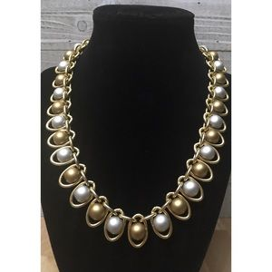 Vintage Gold Tone Chunky Statement Necklace